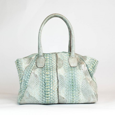 Tote bag EASY in genuine marine green python