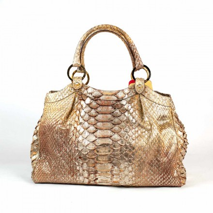 Gold python bag by GLENI