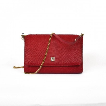Red bag in genuine python