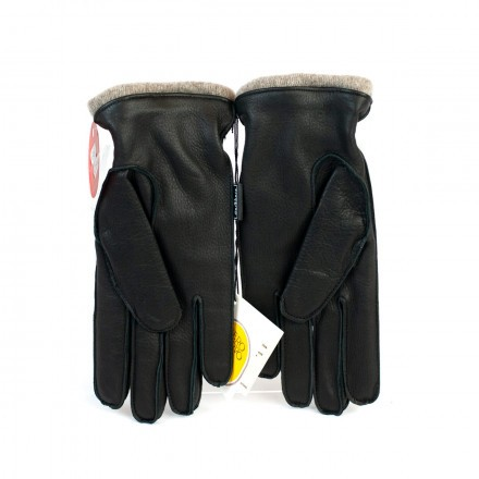 Luxury black deerskin gloves with cashmere