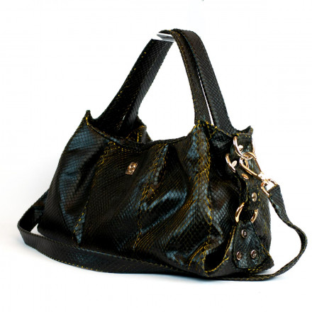 Irina soft black bag in genuine anaconda leather