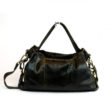 Gleni bag in black anaconda leather