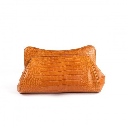 "Clutch ""La Classica"" in light brown alligator"