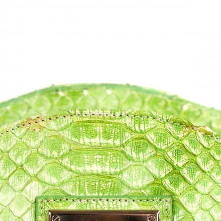 Details of the leather of green flash clutch from GLENI