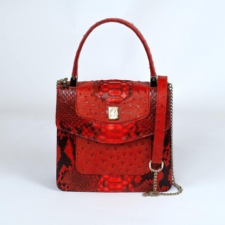 lolita in genuine python and ostrich coquelicot