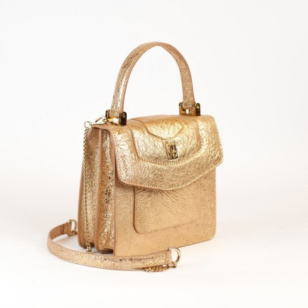 Lolita mini bag by GLENI in genuine gold ostrich leather