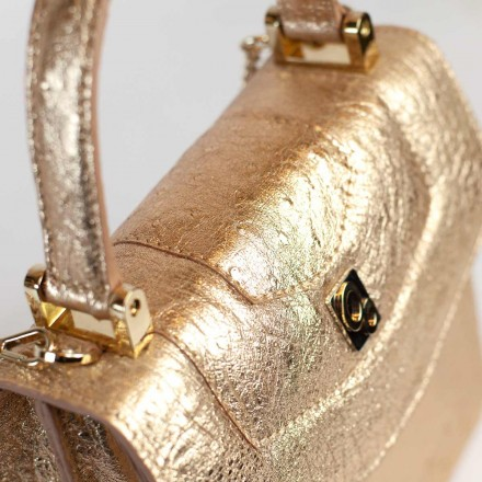 Details of genuine gold ostrich leather by GLENI