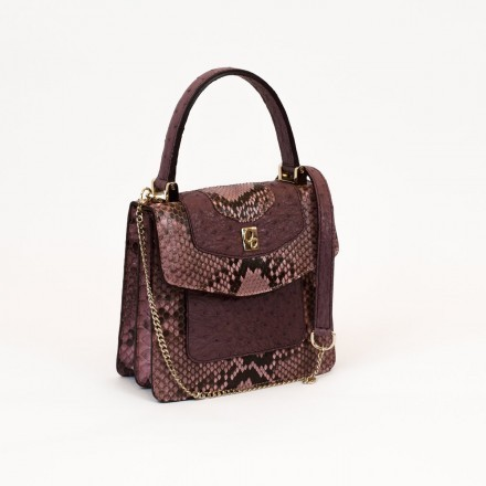 Mini bag in real python and ostrich leather made in Italy