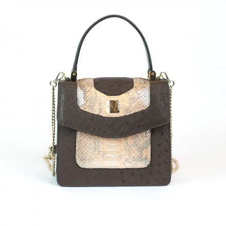 Lolita mini bag in dark ostrich and GLENI apricot python