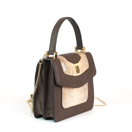 Gleni LOLITA handbag in real ostrich and handmade python