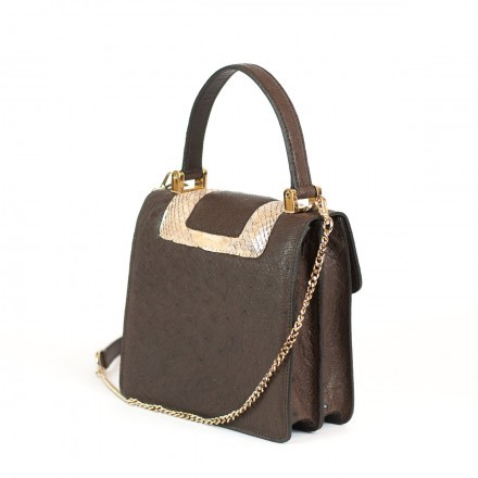 Lolita mini bag in genuine python and real GLENI ostrich brown