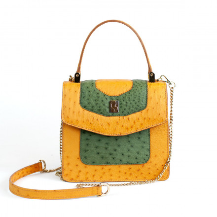 Lolita mini bag in real green and yellow ostrich