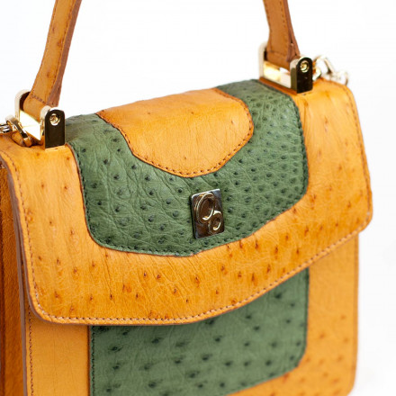 Mini bag by Gleni made of genuine ostrich leather in yellow and green