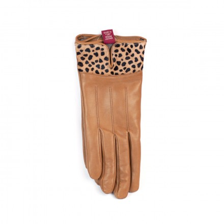Gloves in real leather and cashmere