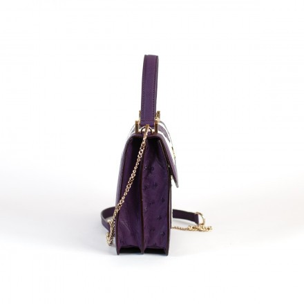 Mini bag in genuine violet and white leather