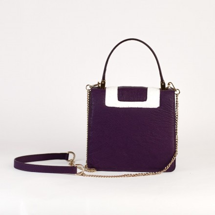 Lolita mini bag by Gleni in genuine violet leather