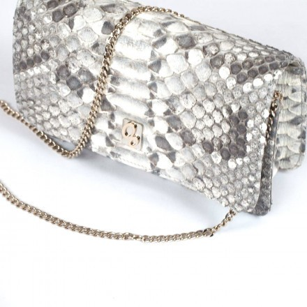 python leather pochette made in Italy