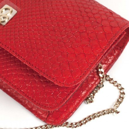 genuine python clutch in red color