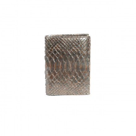 Men's wallet in genuine metallic python leather
