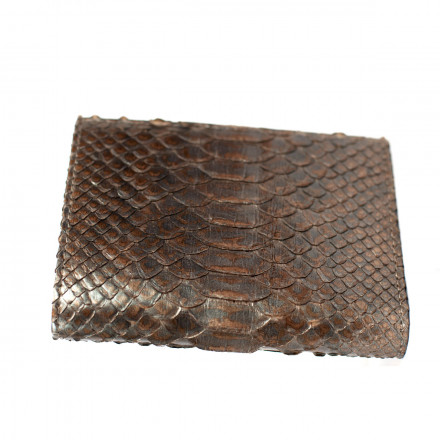 Wallet in real gray and brown GLENI python leather