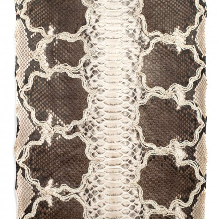 Caffellatte embroidered python leather