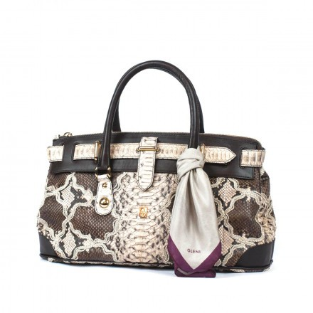 trunk bag in genuine python leather