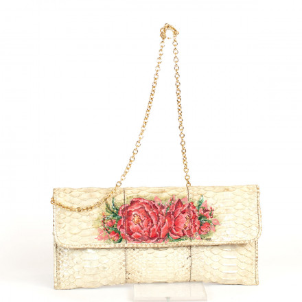 Mini bag in cream beige colour with painted flowers